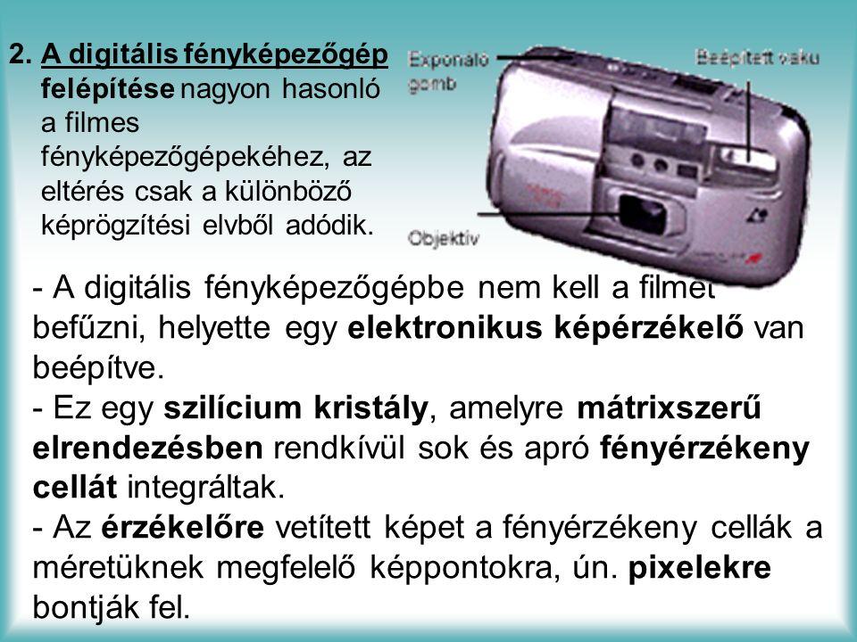- A digitális fényképezőgépbe nem kell a filmet befűzni, helyette egy elektronikus képérzékelő van beépítve.