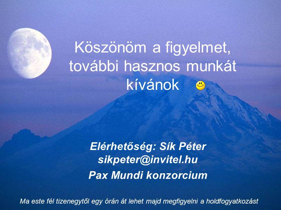 Köszönöm a figyelmet, további hasznos munkát kívánok Elérhetőség: Sík Péter sikpeter@invitel.hu Pax Mundi konzorcium Ma este fél tizenegytől egy órán át lehet majd megfigyelni a holdfogyatkozást