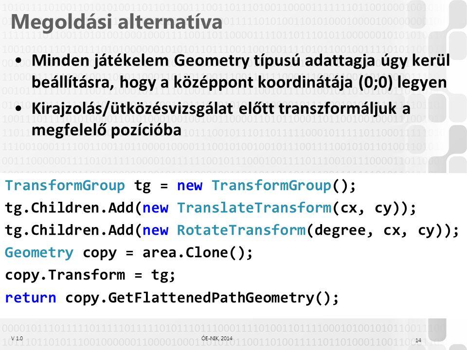 V 1.0ÓE-NIK, 2014 Megoldási alternatíva Minden játékelem Geometry típusú adattagja úgy kerül beállításra, hogy a középpont koordinátája (0;0) legyen Kirajzolás/ütközésvizsgálat előtt transzformáljuk a megfelelő pozícióba TransformGroup tg = new TransformGroup(); tg.Children.Add(new TranslateTransform(cx, cy)); tg.Children.Add(new RotateTransform(degree, cx, cy)); Geometry copy = area.Clone(); copy.Transform = tg; return copy.GetFlattenedPathGeometry(); 14