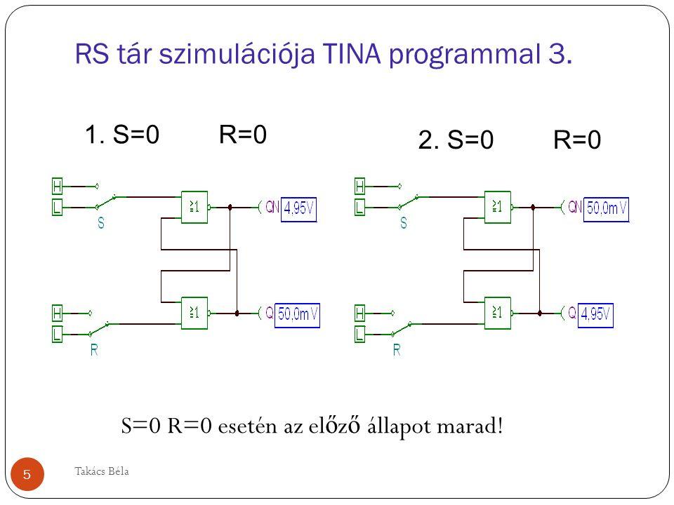 Inverz RS tár szimulációja NAND kapuk! 6 Takács Béla