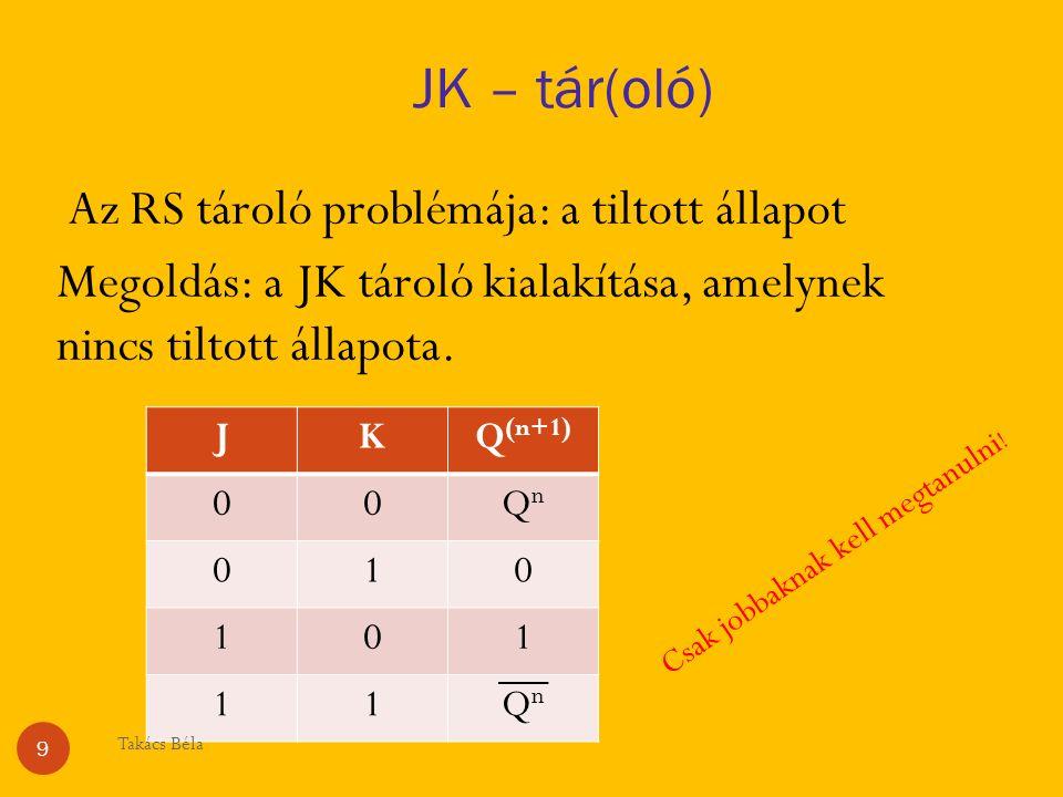 JK – tár(oló) Az RS tároló problémája: a tiltott állapot Megoldás: a JK tároló kialakítása, amelynek nincs tiltott állapota.