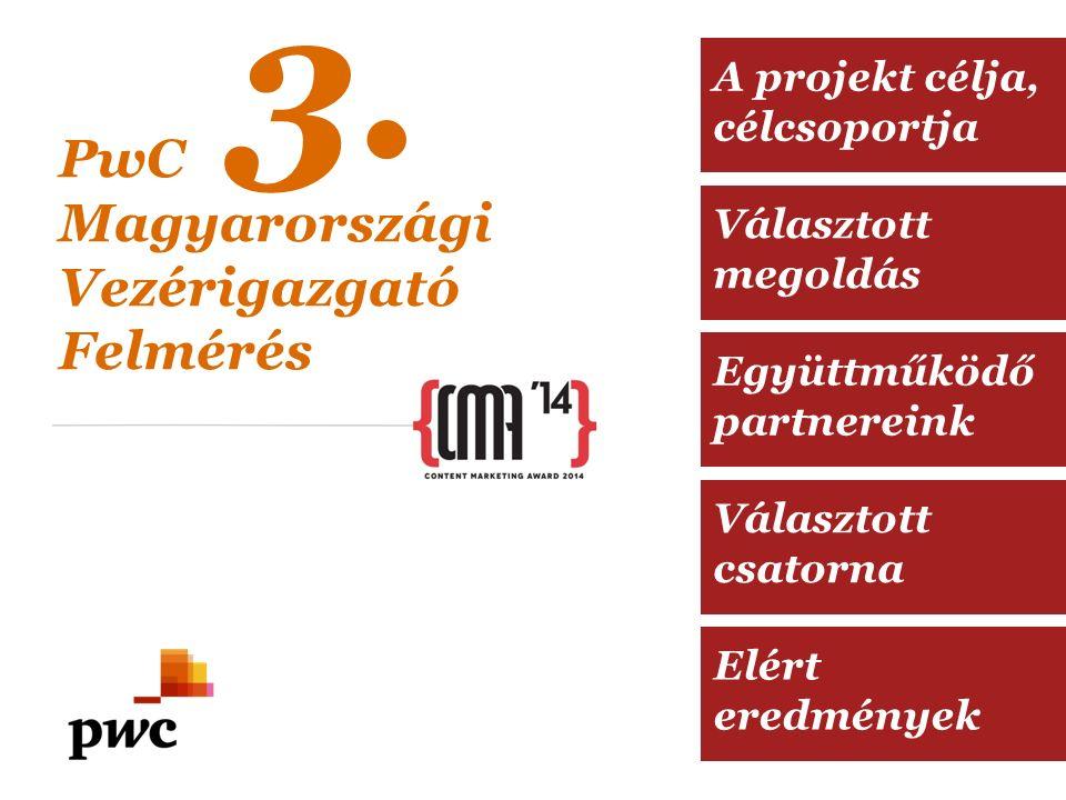Választott megoldás Együttműködő partnereink Választott csatorna Elért eredmények A projekt célja, célcsoportja PwC Magyarországi Vezérigazgató Felmérés 3.