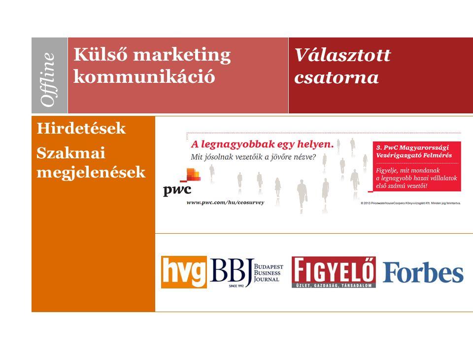 Választott csatorna Külső marketing kommunikáció Offline Hirdetések Szakmai megjelenések