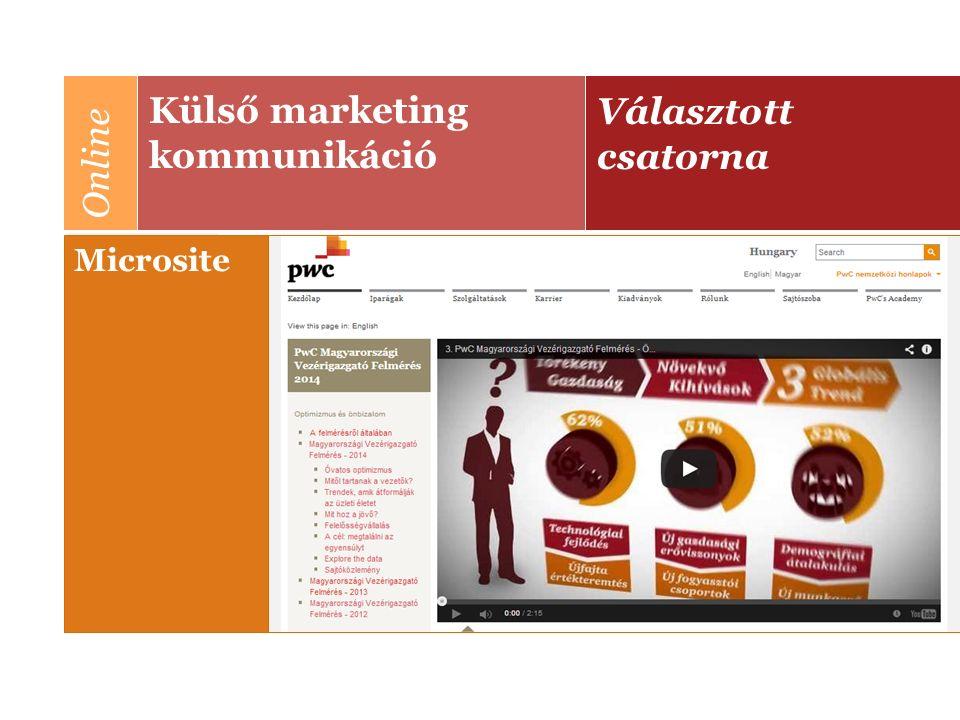 Választott csatorna Külső marketing kommunikáció Online