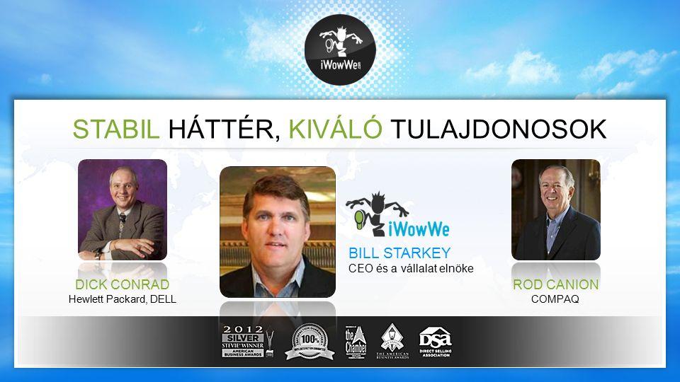 STABIL HÁTTÉR, KIVÁLÓ TULAJDONOSOK DICK CONRAD Hewlett Packard, DELL ROD CANION COMPAQ BILL STARKEY CEO és a vállalat elnöke