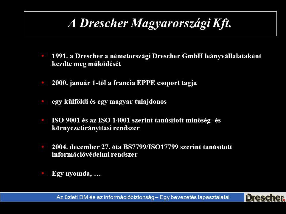 Az üzleti DM és az információbiztonság – Egy bevezetés tapasztalatai A Drescher Magyarországi Kft.