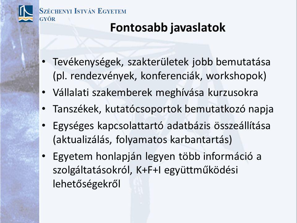 Fontosabb javaslatok Tevékenységek, szakterületek jobb bemutatása (pl.