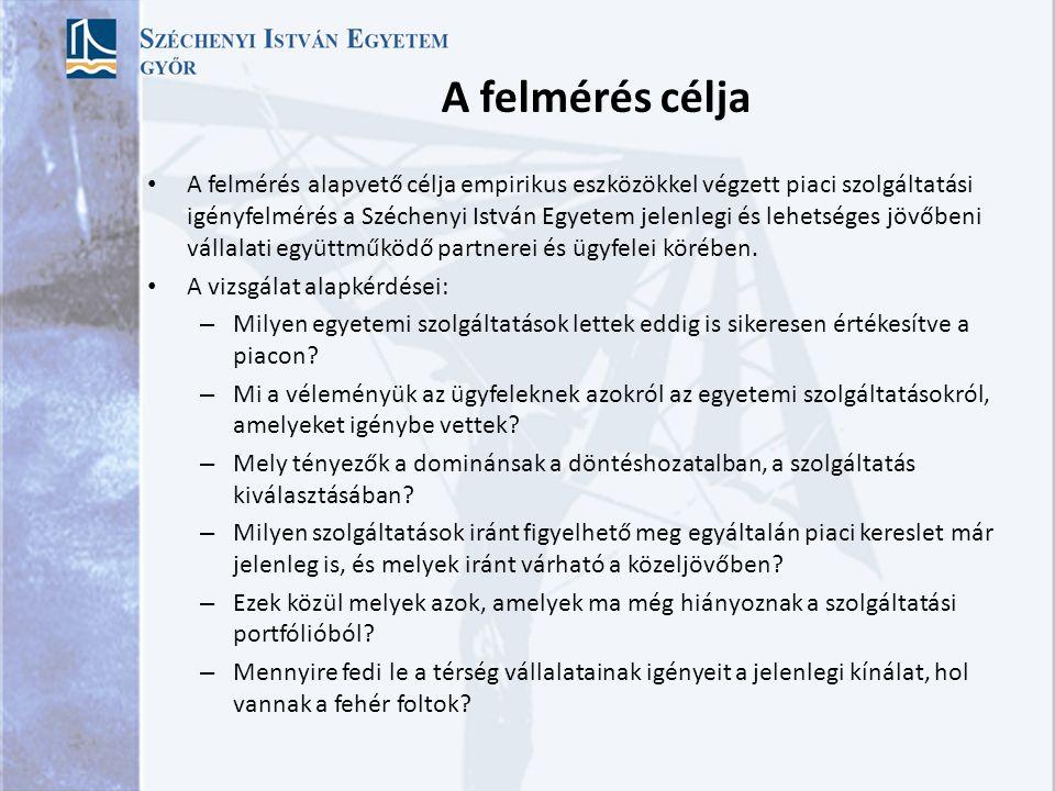 A felmérés célja A felmérés alapvető célja empirikus eszközökkel végzett piaci szolgáltatási igényfelmérés a Széchenyi István Egyetem jelenlegi és lehetséges jövőbeni vállalati együttműködő partnerei és ügyfelei körében.