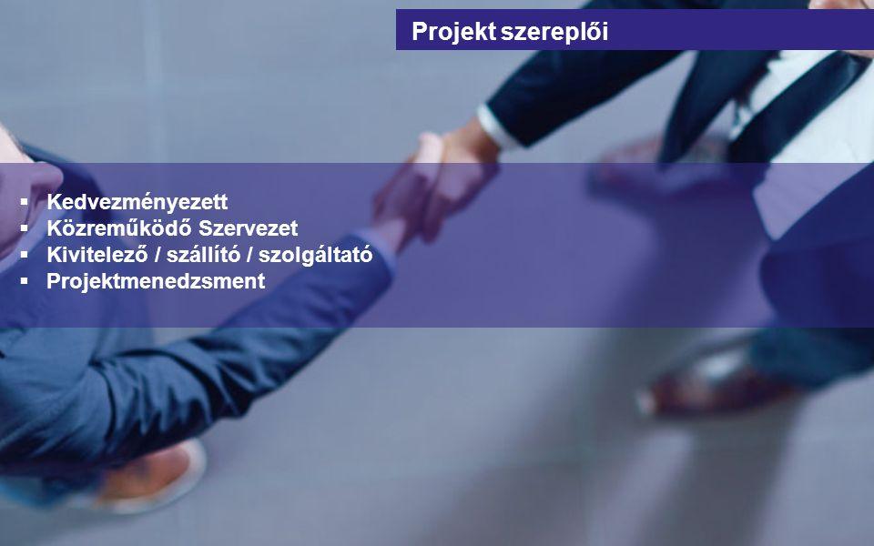  Kedvezményezett  Közreműködő Szervezet  Kivitelező / szállító / szolgáltató  Projektmenedzsment Projekt szereplői