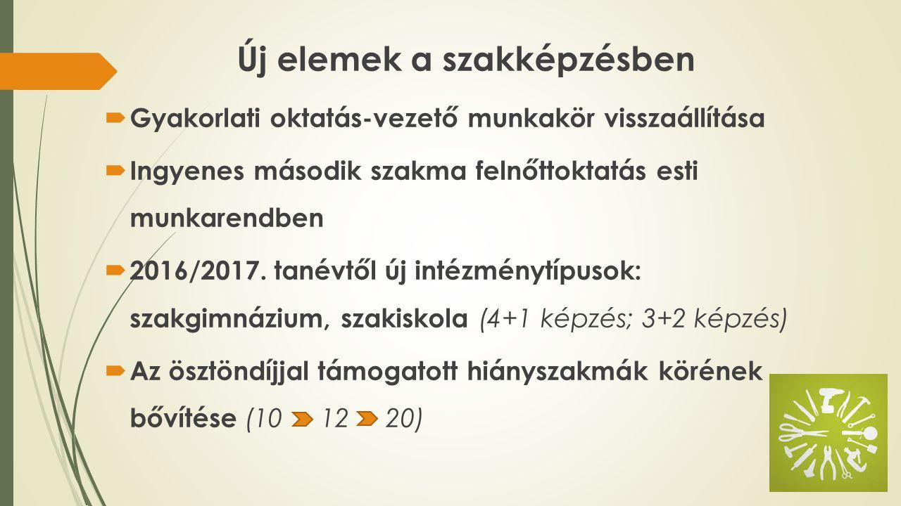 Új elemek a szakképzésben  Gyakorlati oktatás-vezető munkakör visszaállítása  Ingyenes második szakma felnőttoktatás esti munkarendben  2016/2017.