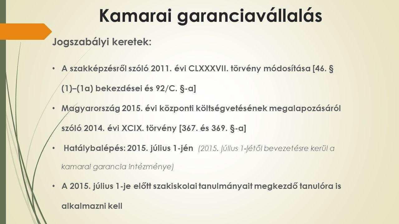 Kamarai garanciavállalás Jogszabályi keretek: A szakképzésről szóló 2011.