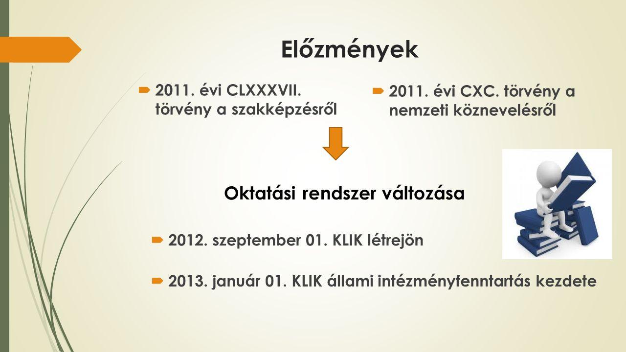 Előzmények  2011. évi CLXXXVII. törvény a szakképzésről  2011.