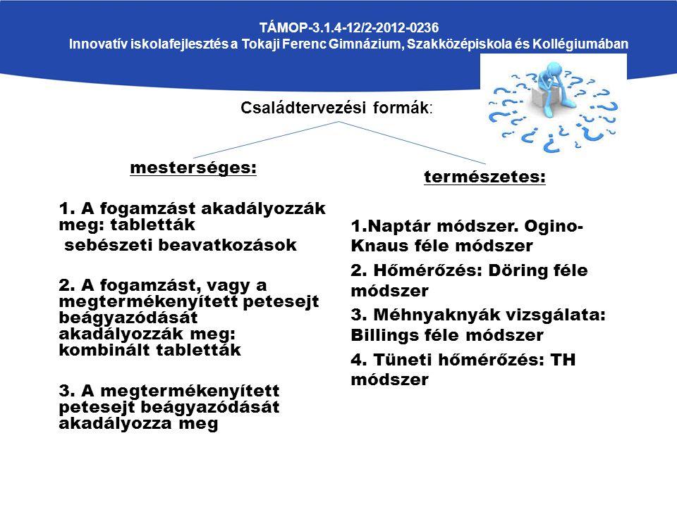 Mesterséges családtervezési módszerek: TÁMOP-3.1.4-12/2-2012-0236 Innovatív iskolafejlesztés a Tokaji Ferenc Gimnázium, Szakközépiskola és Kollégiumában CÉL: a fogamzás, vagy beágyazódás megakadályozása 1.fogamzásgátlók: Hatásmechanizmus: a hímivarsejteknek a megtermékenyítés helyére való eljutását akadályozzák meg.