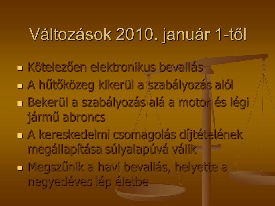Változások 2010. január 1-től Kötelezően elektronikus bevallás Kötelezően elektronikus bevallás A hűtőközeg kikerül a szabályozás alól A hűtőközeg kik