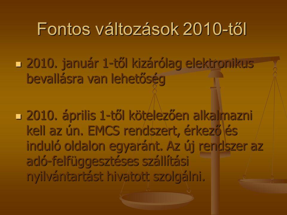 Fontos változások 2010-től 2010. január 1-től kizárólag elektronikus bevallásra van lehetőség 2010.