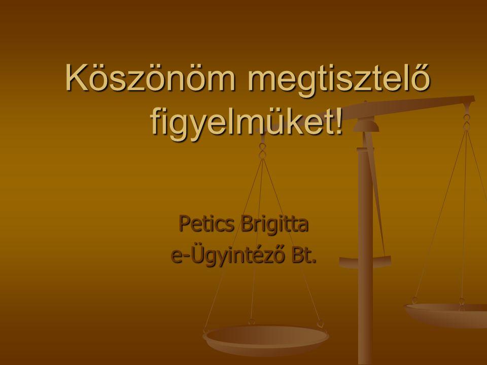 Köszönöm megtisztelő figyelmüket! Petics Brigitta e-Ügyintéző Bt.