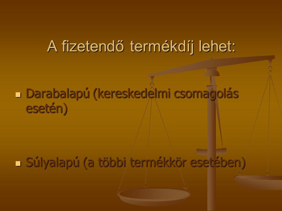 A fizetendő termékdíj lehet: Darabalapú (kereskedelmi csomagolás esetén) Darabalapú (kereskedelmi csomagolás esetén) Súlyalapú (a többi termékkör eset