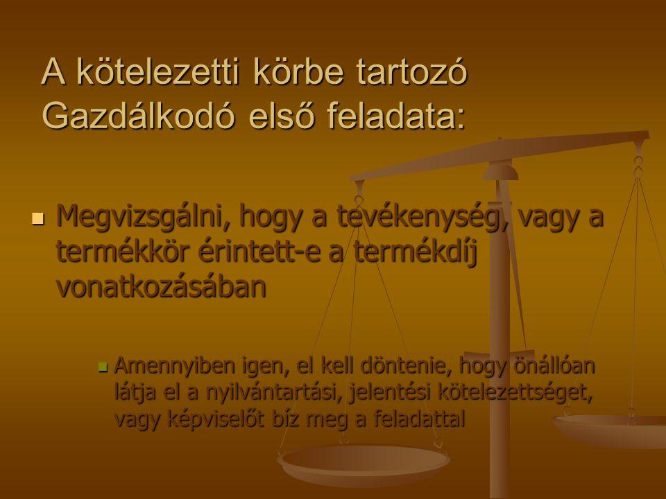 Jogszabályban előírt kötelezettségek: Bejelentkezési kötelezettség Bejelentkezési kötelezettség Bevallási kötelezettség Bevallási kötelezettség Nyilvántartási kötelezettség Nyilvántartási kötelezettség Fizetési kötelezettség Fizetési kötelezettség Visszaigénylési kötelezettség Visszaigénylési kötelezettség