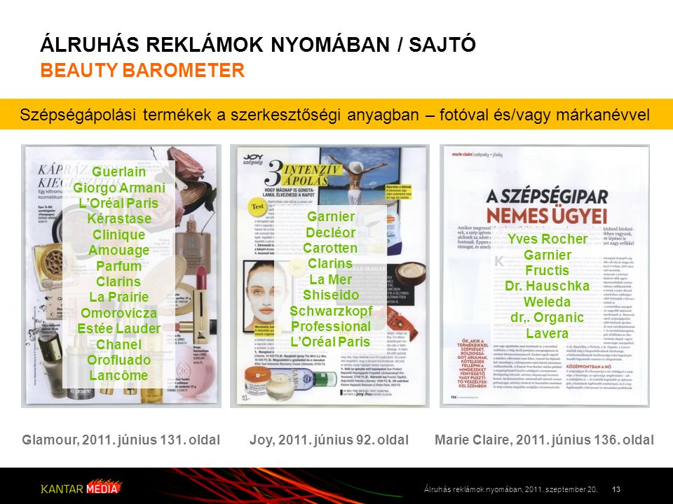 ÁLRUHÁS REKLÁMOK NYOMÁBAN / SAJTÓ BEAUTY BAROMETER 13Álruhás reklámok nyomában, 2011. szeptember 20. Szépségápolási termékek a szerkesztőségi anyagban