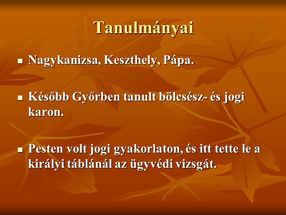 Tanulmányai Nagykanizsa, Keszthely, Pápa. Nagykanizsa, Keszthely, Pápa.
