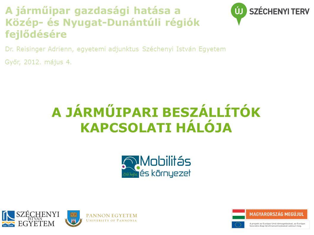 A JÁRMŰIPARI BESZÁLLÍTÓK KAPCSOLATI HÁLÓJA A járműipar gazdasági hatása a Közép- és Nyugat-Dunántúli régiók fejlődésére Dr.