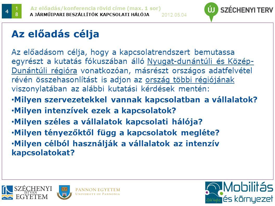 Az előadás/konferencia rövid címe (max. 1 sor) 2012.05.04 4 1818 Az előadásom célja, hogy a kapcsolatrendszert bemutassa egyrészt a kutatás fókuszában