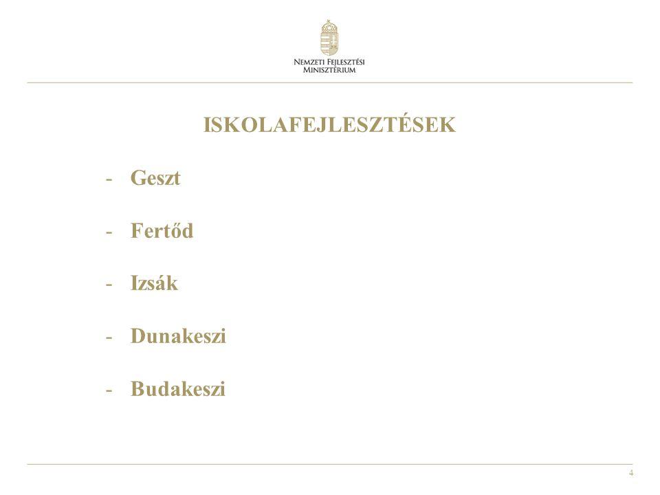 4 ISKOLAFEJLESZTÉSEK -Geszt -Fertőd -Izsák -Dunakeszi -Budakeszi