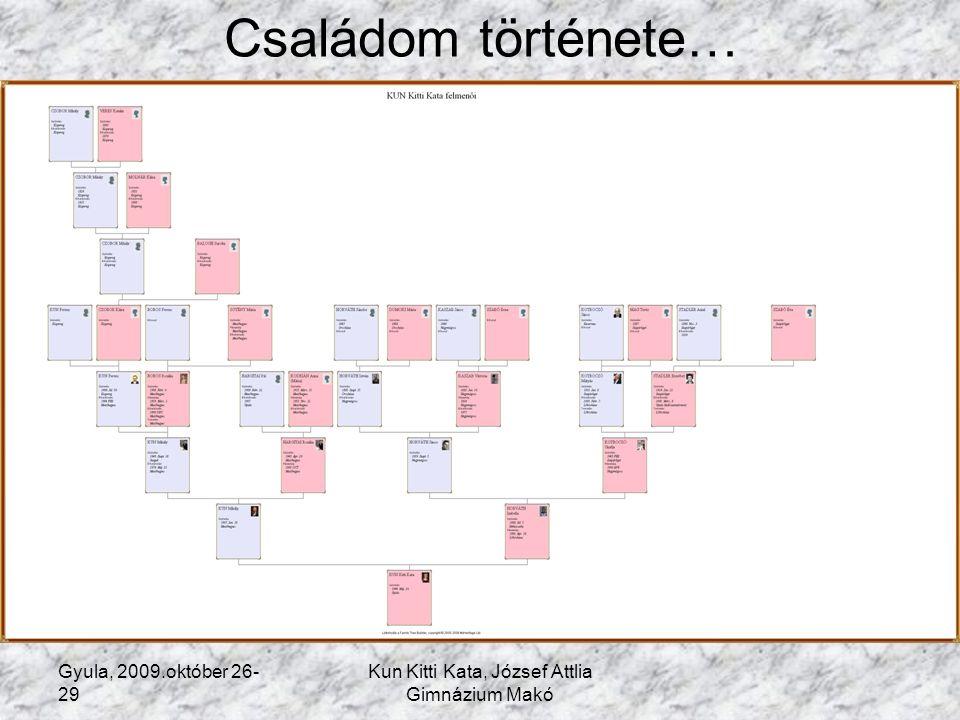 Gyula, 2009.október 26- 29 Kun Kitti Kata, József Attlia Gimnázium Makó Családom története… 1.Előzmények Miért is vágtam bele ebbe a munkába.