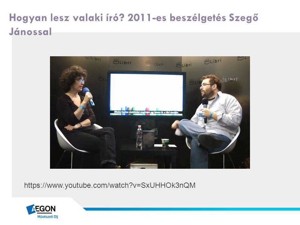 Hogyan lesz valaki író? 2011-es beszélgetés Szegő Jánossal https://www.youtube.com/watch?v=SxUHHOk3nQM