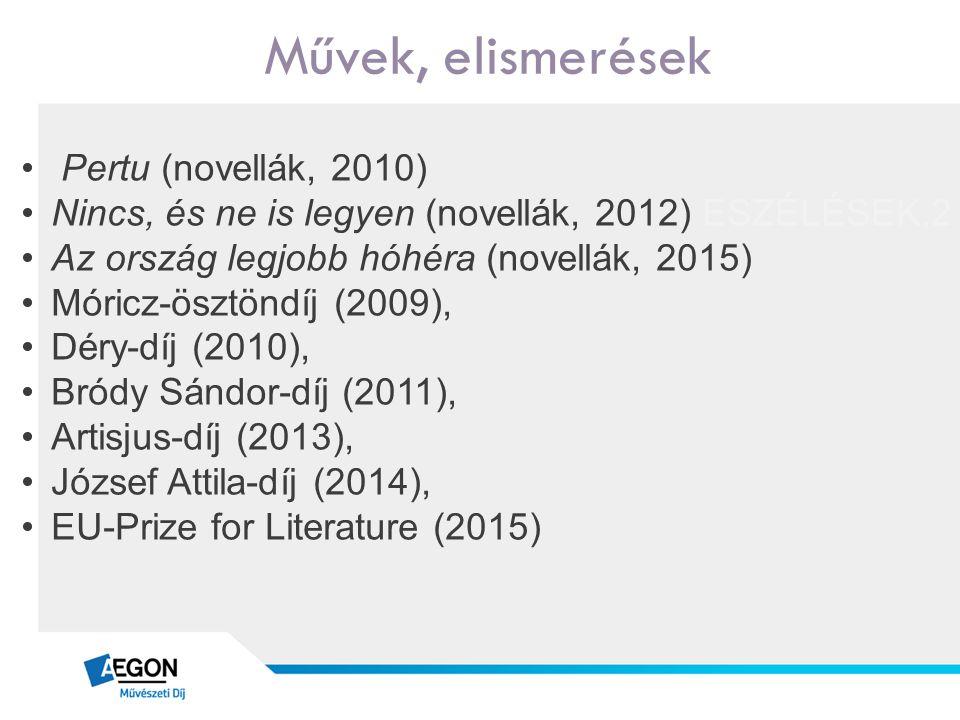 Művek, elismerések Pertu (novellák, 2010) Nincs, és ne is legyen (novellák, 2012) ESZÉLÉSEK,2 Az ország legjobb hóhéra (novellák, 2015) Móricz-ösztöndíj (2009), Déry-díj (2010), Bródy Sándor-díj (2011), Artisjus-díj (2013), József Attila-díj (2014), EU-Prize for Literature (2015)