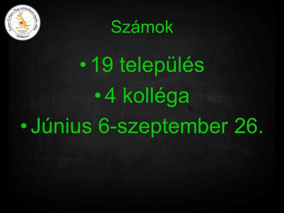 Számok 19 település 4 kolléga Június 6-szeptember 26.