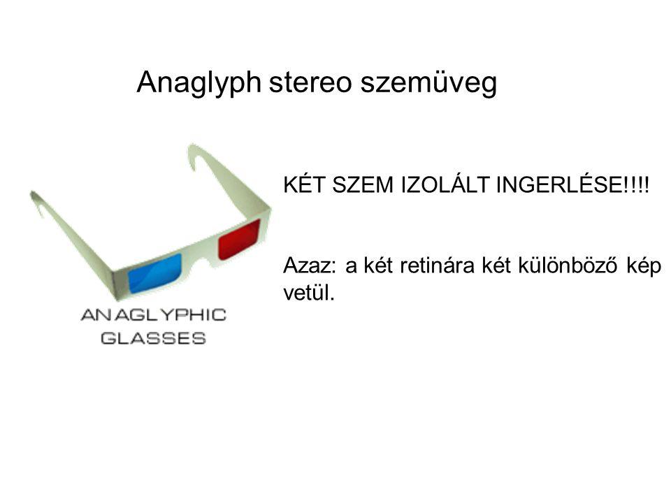 Anaglyph stereo szemüveg KÉT SZEM IZOLÁLT INGERLÉSE!!!! Azaz: a két retinára két különböző kép vetül.