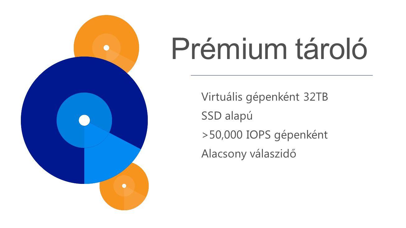 Virtuális gépenként 32TB SSD alapú >50,000 IOPS gépenként Alacsony válaszidő