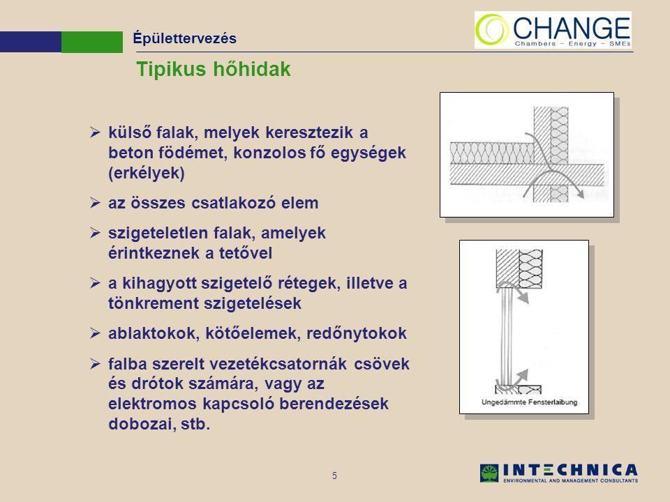5 Tipikus hőhidak  külső falak, melyek keresztezik a beton födémet, konzolos fő egységek (erkélyek)  az összes csatlakozó elem  szigeteletlen falak, amelyek érintkeznek a tetővel  a kihagyott szigetelő rétegek, illetve a tönkrement szigetelések  ablaktokok, kötőelemek, redőnytokok  falba szerelt vezetékcsatornák csövek és drótok számára, vagy az elektromos kapcsoló berendezések dobozai, stb.
