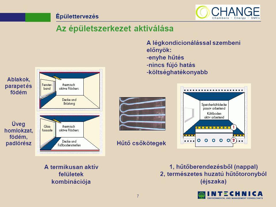 7 Az épületszerkezet aktiválása A termikusan aktív felületek kombinációja Hűtő csőkötegek 1, hűtőberendezésből (nappal) 2, természetes huzatú hűtőtoronyból (éjszaka) A légkondicionálással szembeni előnyök: -enyhe hűtés -nincs fújó hatás -költséghatékonyabb Épülettervezés Ablakok, parapet és födém Üveg homlokzat, födém, padlórész