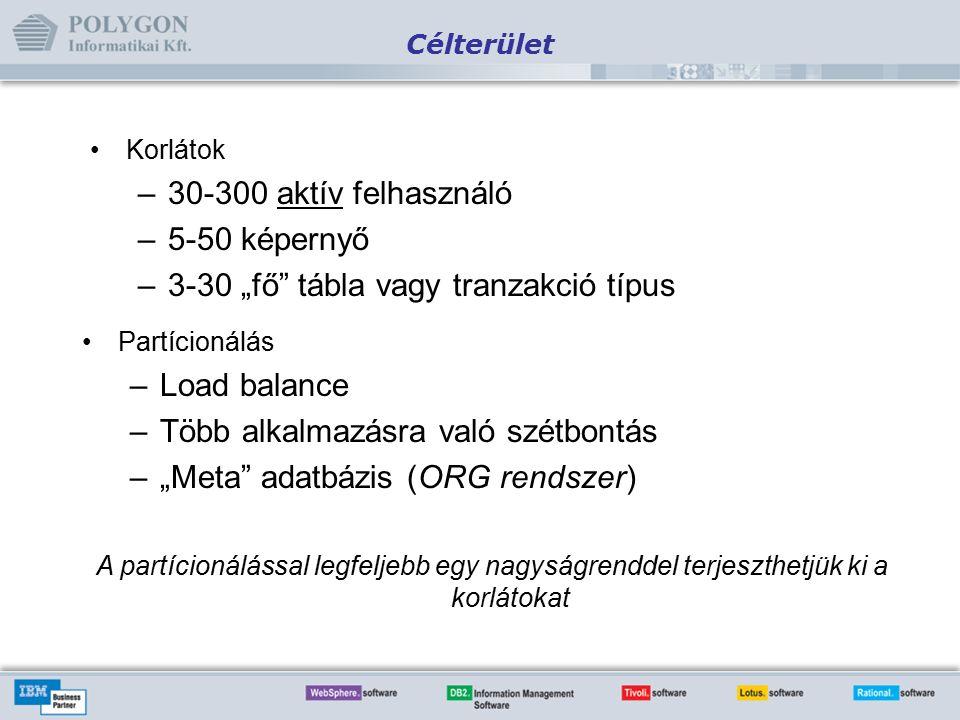 """Célterület Partícionálás –Load balance –Több alkalmazásra való szétbontás –""""Meta adatbázis (ORG rendszer) Korlátok –30-300 aktív felhasználó –5-50 képernyő –3-30 """"fő tábla vagy tranzakció típus A partícionálással legfeljebb egy nagyságrenddel terjeszthetjük ki a korlátokat"""