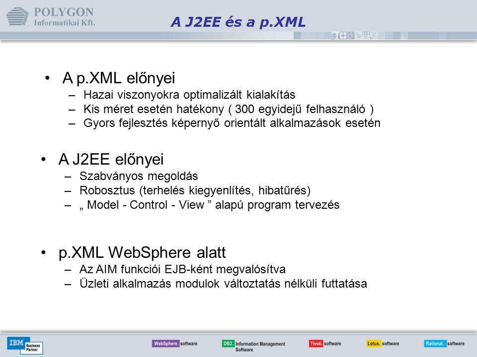"""A J2EE és a p.XML A p.XML előnyei –Hazai viszonyokra optimalizált kialakítás –Kis méret esetén hatékony ( 300 egyidejű felhasználó ) –Gyors fejlesztés képernyő orientált alkalmazások esetén A J2EE előnyei –Szabványos megoldás –Robosztus (terhelés kiegyenlítés, hibatűrés) –"""" Model - Control - View alapú program tervezés p.XML WebSphere alatt –Az AIM funkciói EJB-ként megvalósítva –Üzleti alkalmazás modulok változtatás nélküli futtatása"""