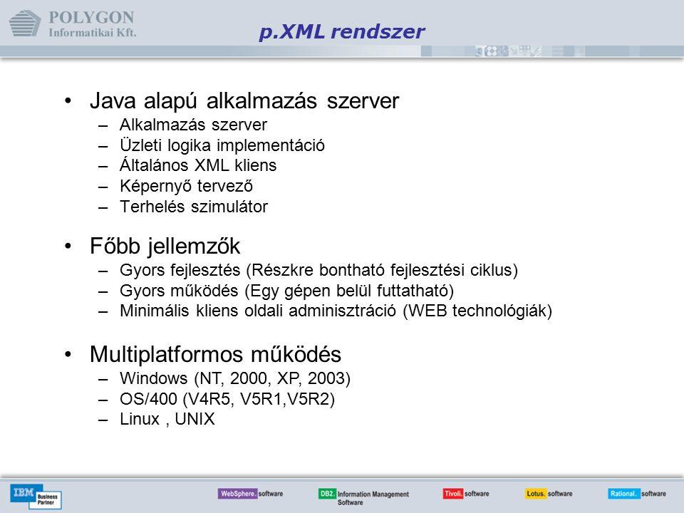 Java alapú alkalmazás szerver –Alkalmazás szerver –Üzleti logika implementáció –Általános XML kliens –Képernyő tervező –Terhelés szimulátor p.XML rendszer Főbb jellemzők –Gyors fejlesztés (Részkre bontható fejlesztési ciklus) –Gyors működés (Egy gépen belül futtatható) –Minimális kliens oldali adminisztráció (WEB technológiák) Multiplatformos működés –Windows (NT, 2000, XP, 2003) –OS/400 (V4R5, V5R1,V5R2) –Linux, UNIX