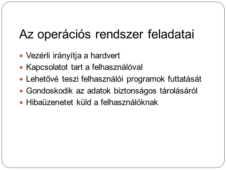 Az operációs rendszer feladatai Vezérli irányítja a hardvert Vezérli irányítja a hardvert Kapcsolatot tart a felhasználóval Kapcsolatot tart a felhasz