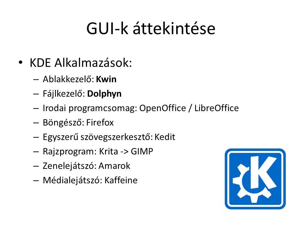 GUI-k áttekintése KDE Alkalmazások: – Ablakkezelő: Kwin – Fájlkezelő: Dolphyn – Irodai programcsomag: OpenOffice / LibreOffice – Böngésző: Firefox – Egyszerű szövegszerkesztő: Kedit – Rajzprogram: Krita -> GIMP – Zenelejátszó: Amarok – Médialejátszó: Kaffeine