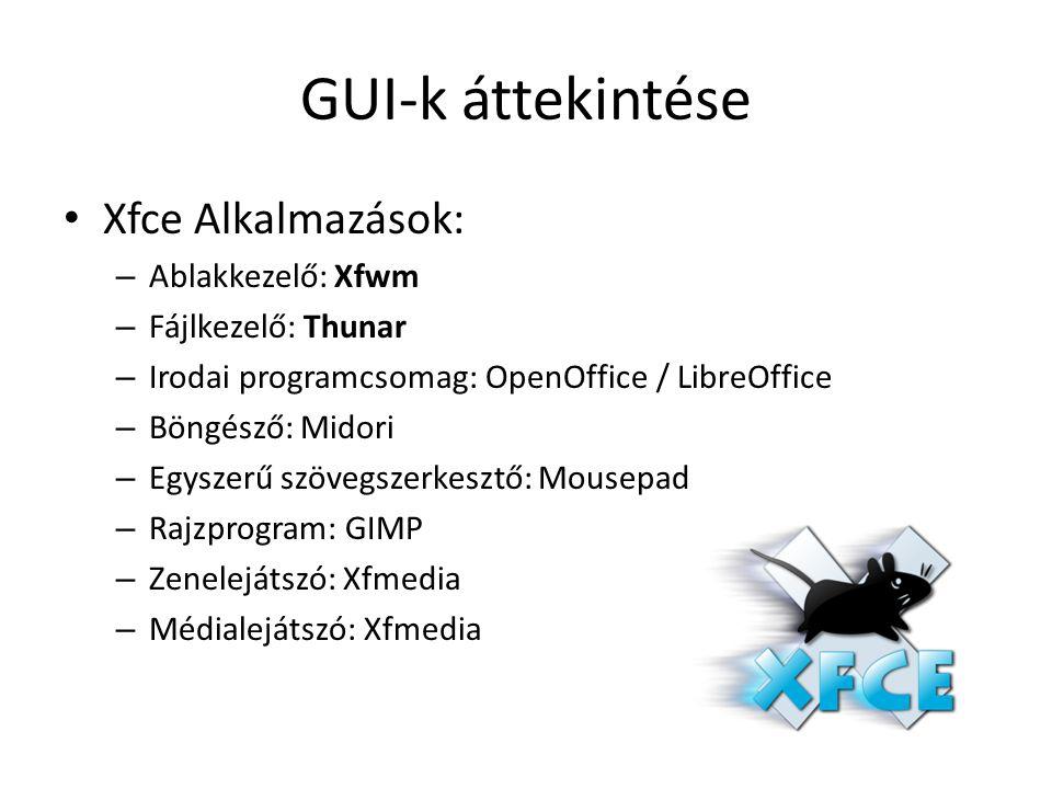 GUI-k áttekintése Xfce Alkalmazások: – Ablakkezelő: Xfwm – Fájlkezelő: Thunar – Irodai programcsomag: OpenOffice / LibreOffice – Böngésző: Midori – Egyszerű szövegszerkesztő: Mousepad – Rajzprogram: GIMP – Zenelejátszó: Xfmedia – Médialejátszó: Xfmedia