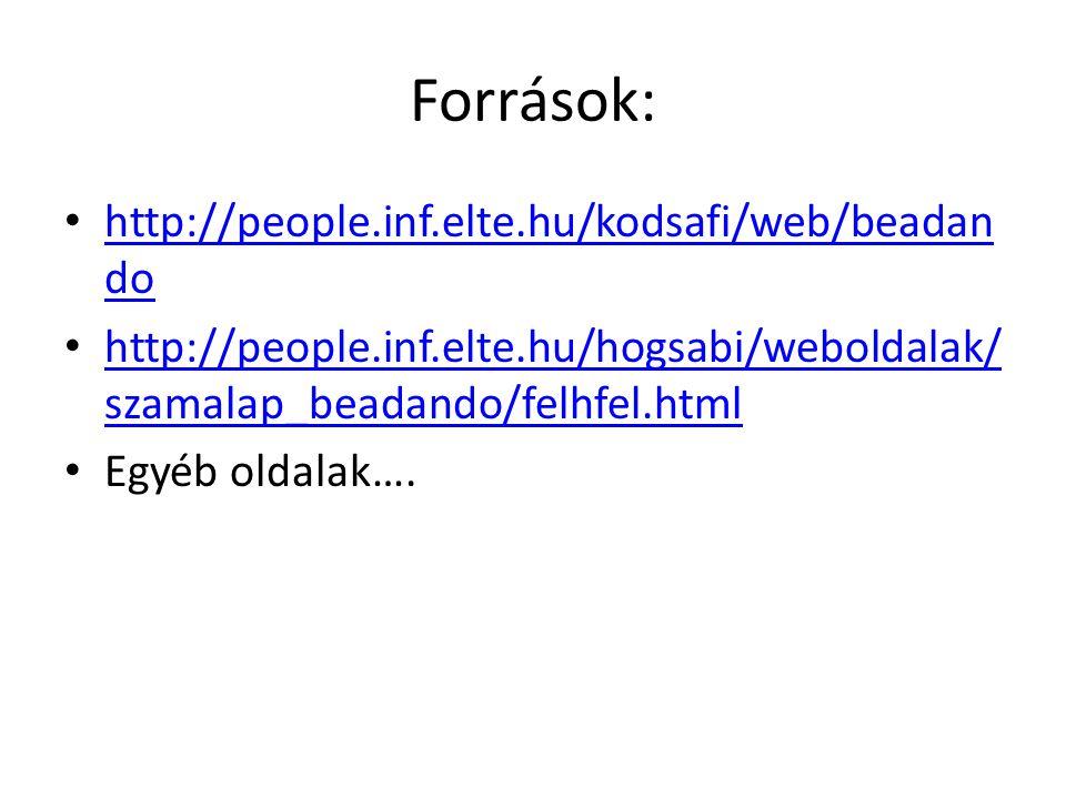 Források: http://people.inf.elte.hu/kodsafi/web/beadan do http://people.inf.elte.hu/kodsafi/web/beadan do http://people.inf.elte.hu/hogsabi/weboldalak/ szamalap_beadando/felhfel.html http://people.inf.elte.hu/hogsabi/weboldalak/ szamalap_beadando/felhfel.html Egyéb oldalak….