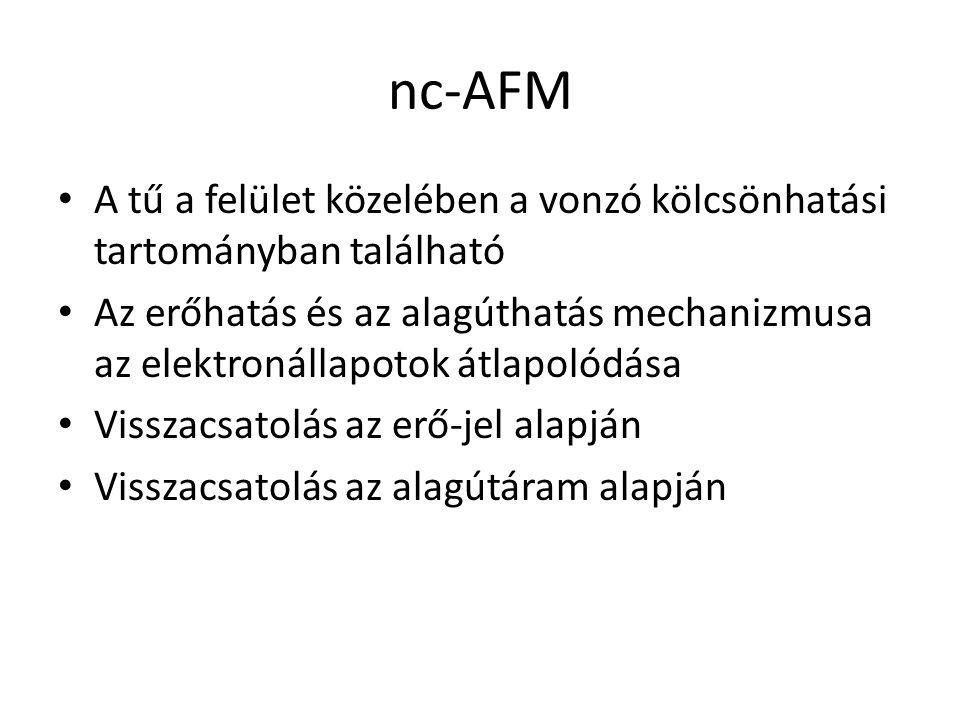 nc-AFM A tű a felület közelében a vonzó kölcsönhatási tartományban található Az erőhatás és az alagúthatás mechanizmusa az elektronállapotok átlapolódása Visszacsatolás az erő-jel alapján Visszacsatolás az alagútáram alapján