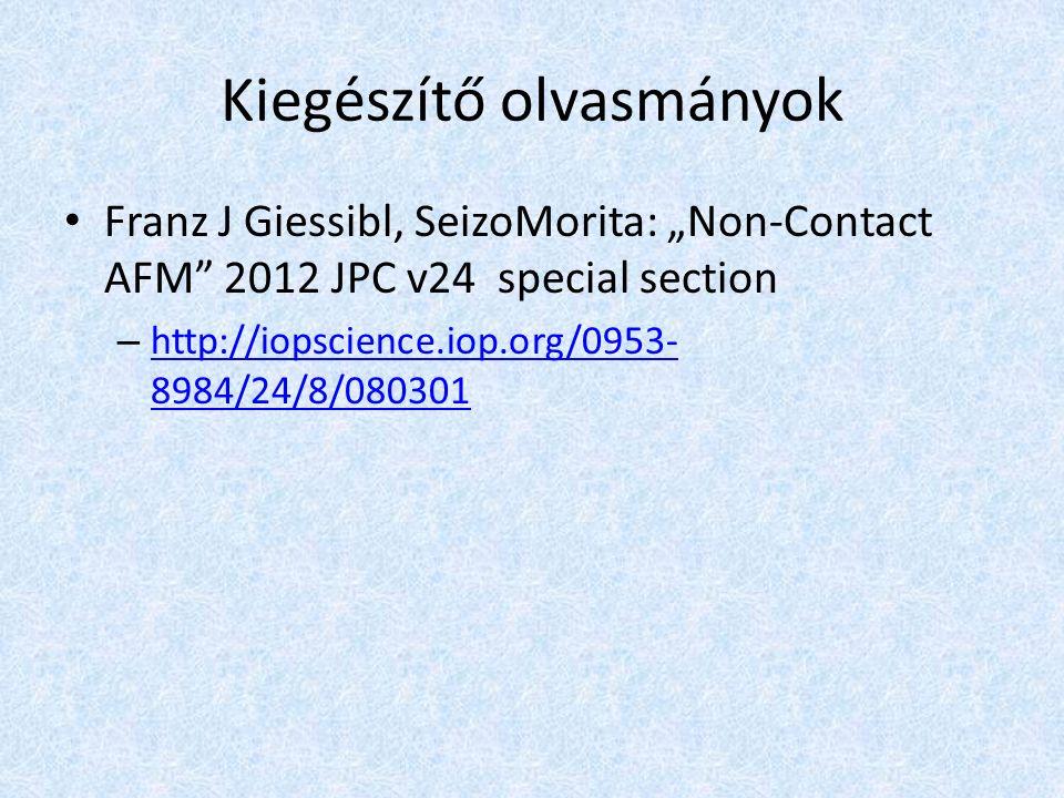 """Kiegészítő olvasmányok Franz J Giessibl, SeizoMorita: """"Non-Contact AFM 2012 JPC v24 special section – http://iopscience.iop.org/0953- 8984/24/8/080301 http://iopscience.iop.org/0953- 8984/24/8/080301"""