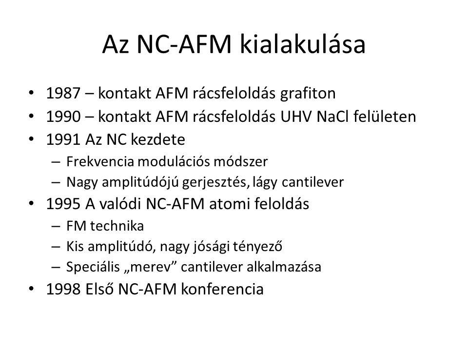 """Az NC-AFM kialakulása 1987 – kontakt AFM rácsfeloldás grafiton 1990 – kontakt AFM rácsfeloldás UHV NaCl felületen 1991 Az NC kezdete – Frekvencia modulációs módszer – Nagy amplitúdójú gerjesztés, lágy cantilever 1995 A valódi NC-AFM atomi feloldás – FM technika – Kis amplitúdó, nagy jósági tényező – Speciális """"merev cantilever alkalmazása 1998 Első NC-AFM konferencia"""