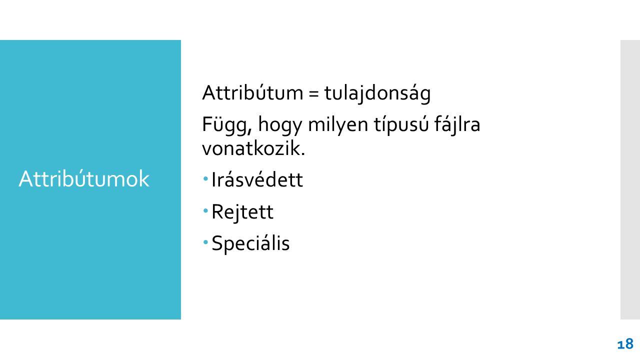 Attribútumok Attribútum = tulajdonság Függ, hogy milyen típusú fájlra vonatkozik.
