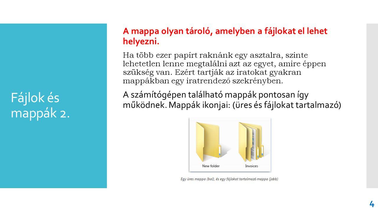 Fájlok és mappák 2. A mappa olyan tároló, amelyben a fájlokat el lehet helyezni. Ha több ezer papírt raknánk egy asztalra, szinte lehetetlen lenne meg