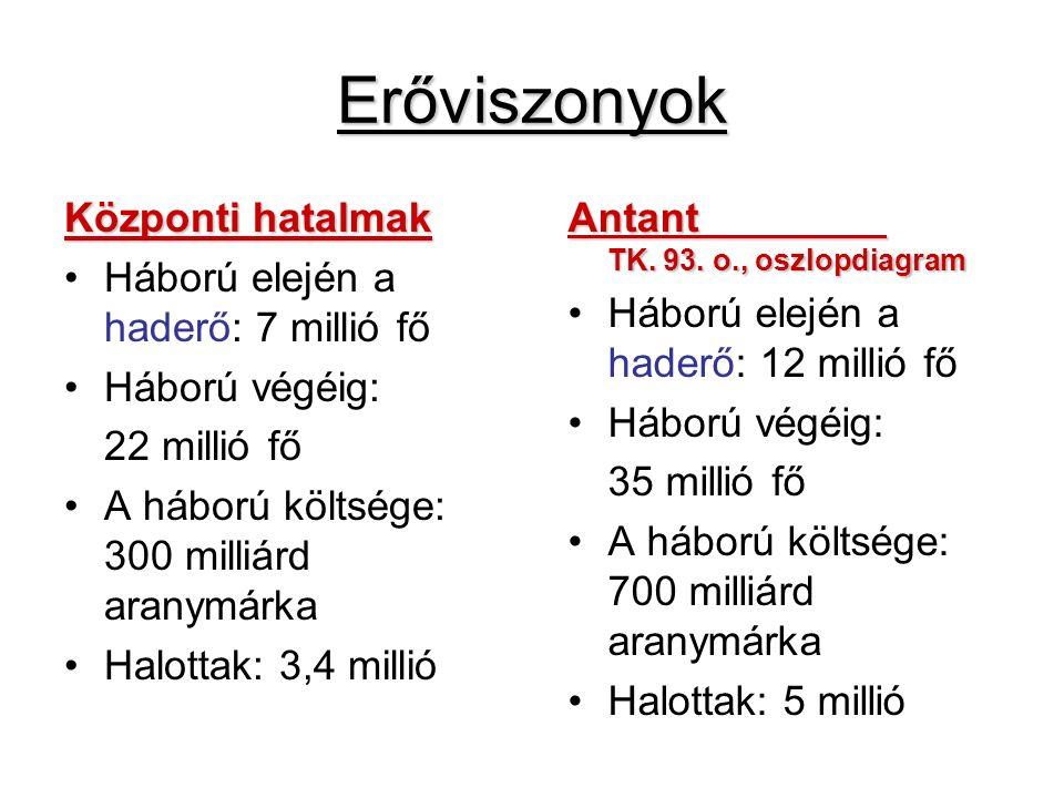 Erőviszonyok Központi hatalmak Háború elején a haderő: 7 millió fő Háború végéig: 22 millió fő A háború költsége: 300 milliárd aranymárka Halottak: 3,4 millió Antant TK.