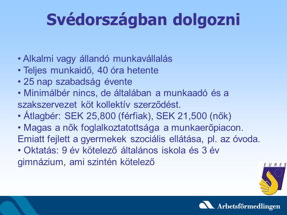 Svédországban dolgozni Alkalmi vagy állandó munkavállalás Teljes munkaidő, 40 óra hetente 25 nap szabadság évente Minimálbér nincs, de általában a munkaadó és a szakszervezet köt kollektív szerződést.