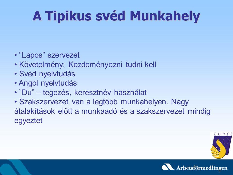 A Tipikus svéd Munkahely Lapos szervezet Követelmény: Kezdeményezni tudni kell Svéd nyelvtudás Angol nyelvtudás Du – tegezés, keresztnév használat Szakszervezet van a legtöbb munkahelyen.